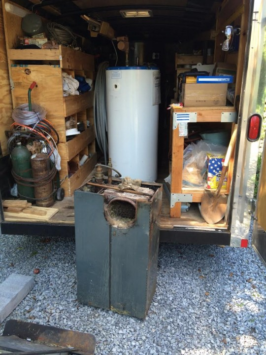 Removal of old boiler (650 lbs.), water heater, and oil tank poses special risks to the home.