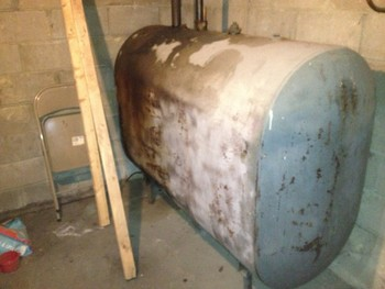 Before pictures of an old oil heating system in need of upgrading Shirley, NY